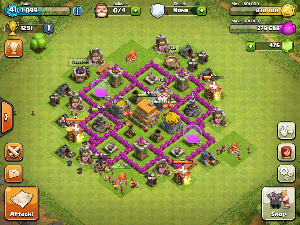 база clah of clans th 6