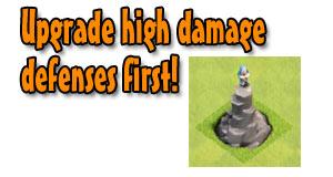 Upgrade high damage defenses first
