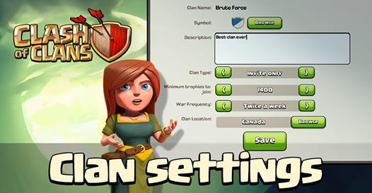 coc clan settings