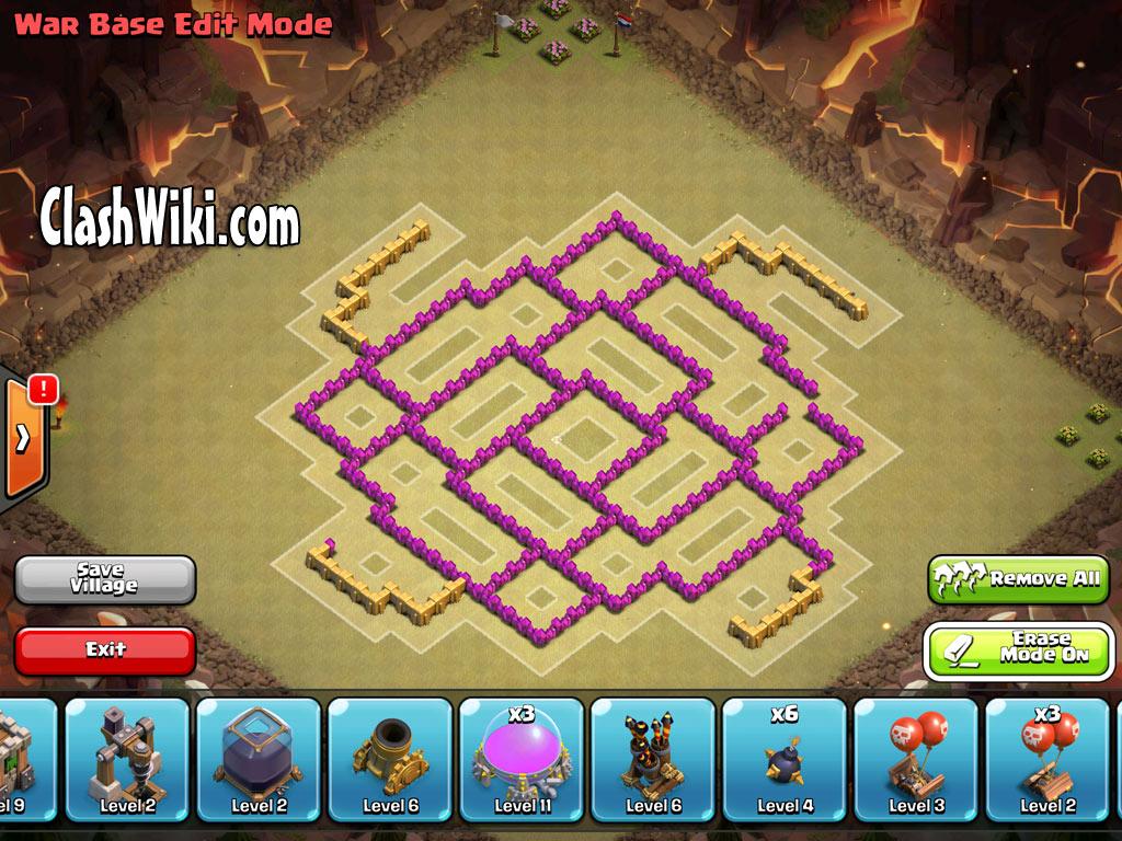 th8 clan war design no buildings