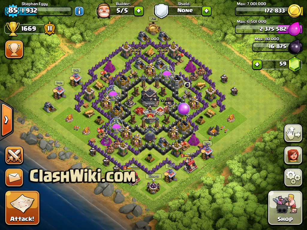 TH9 Clan War Base In Game