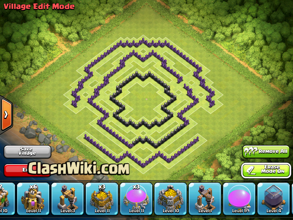 TH9 clan war base, only walls.