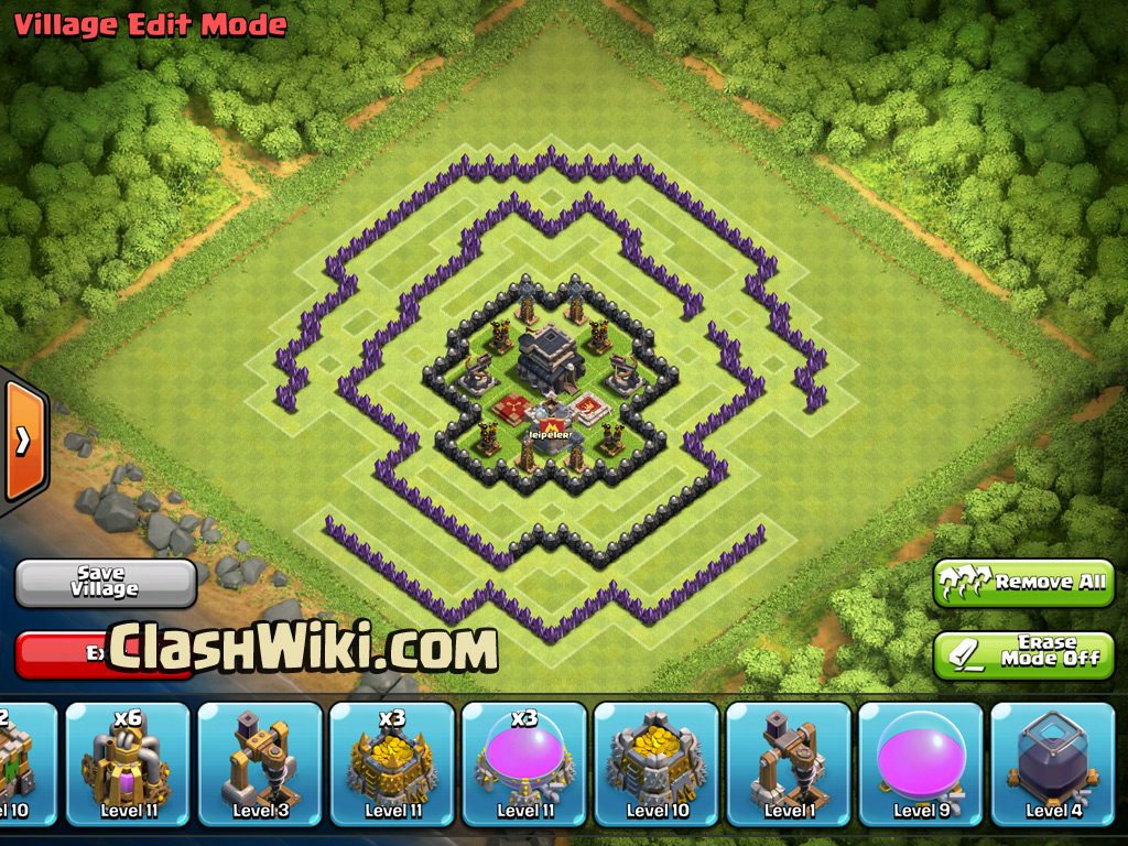 TH9 clan war base, center filled.